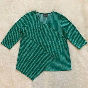 Chico's Travelers Green Stripe Asymmetrical Top 3